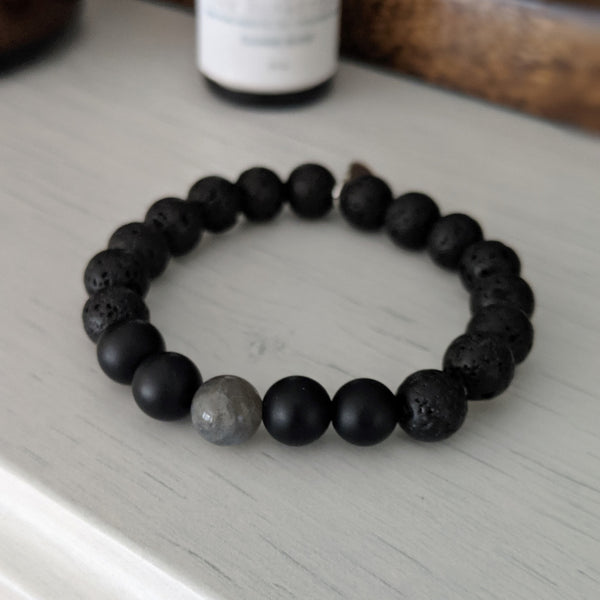 Onyx and Labradorite Diffuser Bracelet - The Olfactory Shop