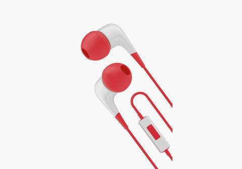 Earphones with Built-In Mic in Red