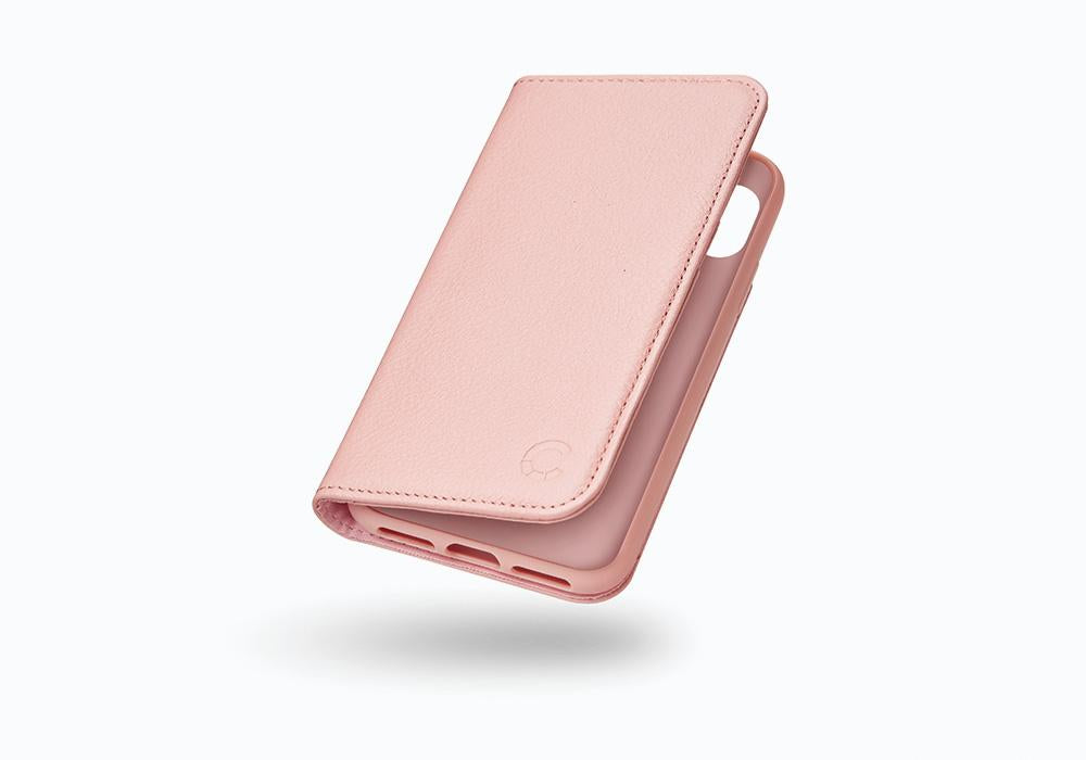 iPhone Xs & X Leather Wallet Case in Pink