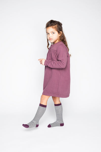Knee Socks - Striped/Eggplant