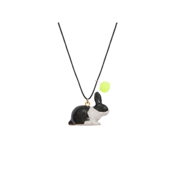 Rabbit Porcelain Necklace with Yellow Pom Pom A MINI PENNY - www.fourmonkeys.com