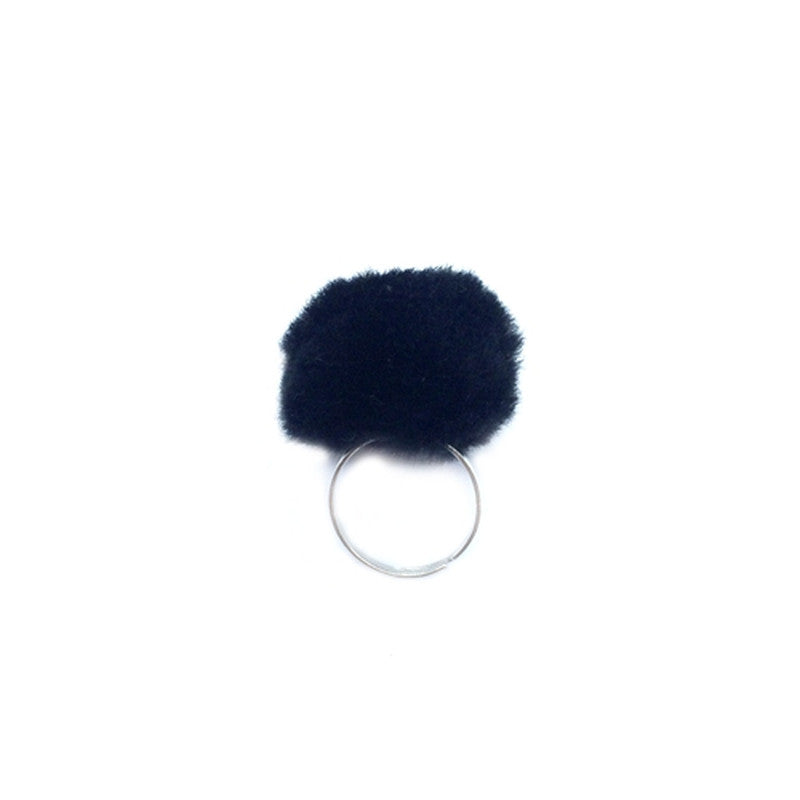 Black Pom Pom Ring A MINI PENNY - www.fourmonkeys.com