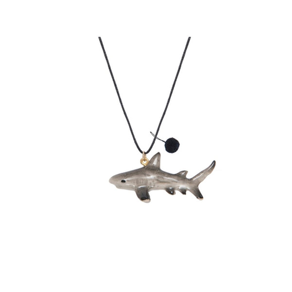 Tiger Shark Porcelain Necklace with Black Pom Pom