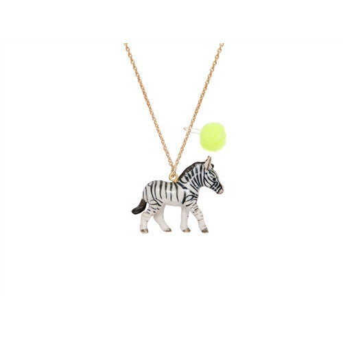 Zebra Porcelain Necklace with Yellow Pom Pom