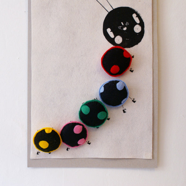 Caterpillar Colour Chart Wool Felt Poster with Attachable Shapes CORBY TINDERSTICKS - www.fourmonkeys.com