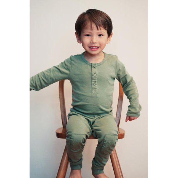 Long Placket PJ's Olive COTTON&BUTTON - www.fourmonkeys.com