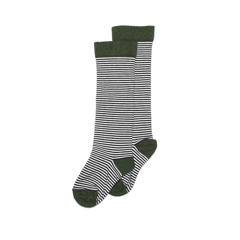 Knee Socks - Striped/Forest Green