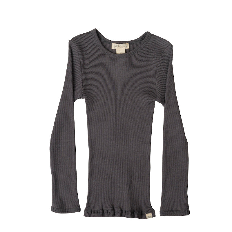Bergen Round-Neck Blouse - Dark Grey