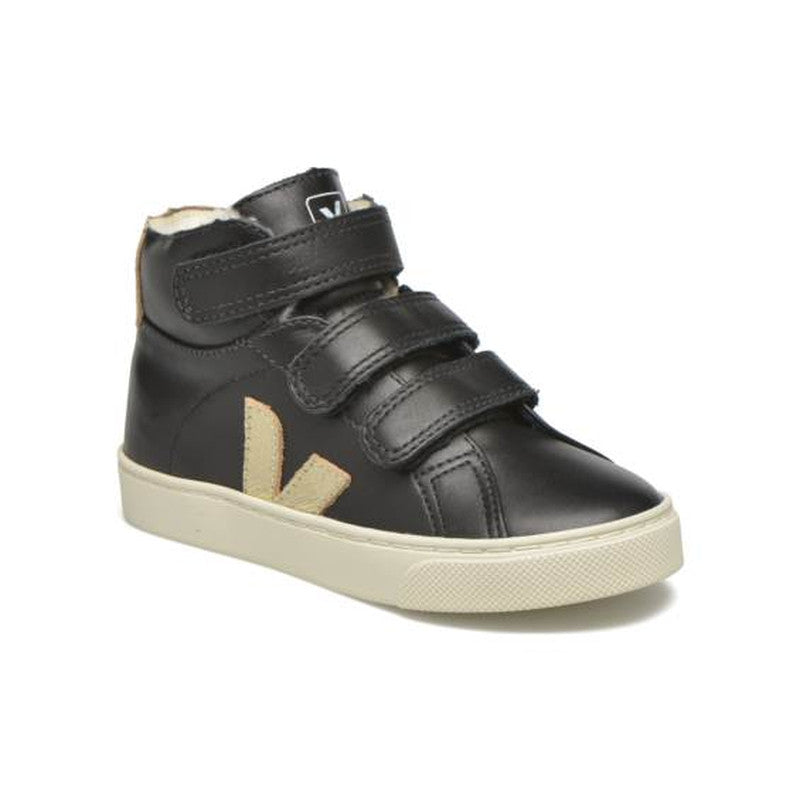 Esplar Mid Small Velcro Leather  Fured Black Gold Pierre