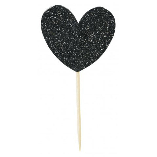 CAKE TOPPER BIG HEART BLACK MISS ETOILE - www.fourmonkeys.com