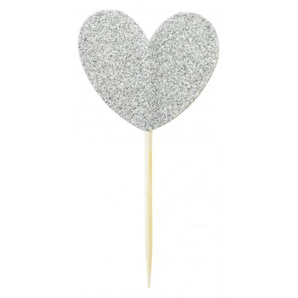 CAKE TOPPER BIG HEART SILVER MISS ETOILE - www.fourmonkeys.com