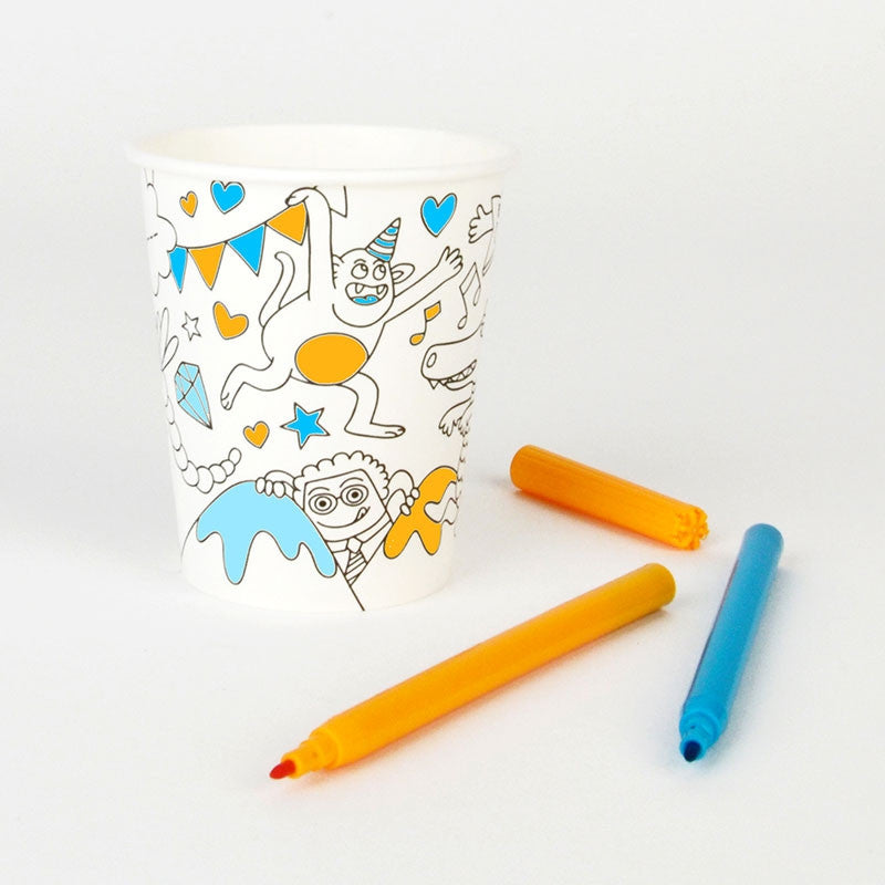 Paper Cups for Coloring 8pcs OMY - www.fourmonkeys.com