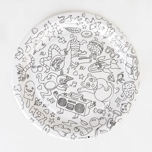 Paper Plates for Coloring 8pcs OMY - www.fourmonkeys.com