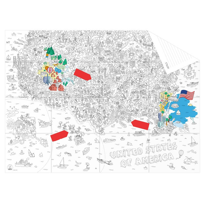 Pocket Maps Coloring Poster OMY - www.fourmonkeys.com