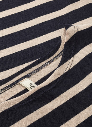 DC LS Dress Navy With Rosa Stripes