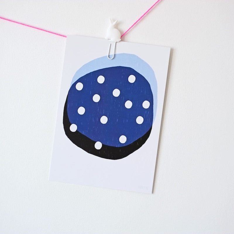 Dotty Circle Blue A5 Postcard/Mini Print Blue SEVENTY TREE - www.fourmonkeys.com