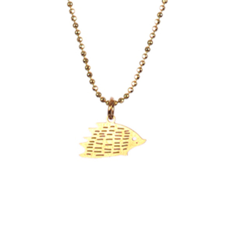Golden Hedgehog Necklace TITLEE - www.fourmonkeys.com