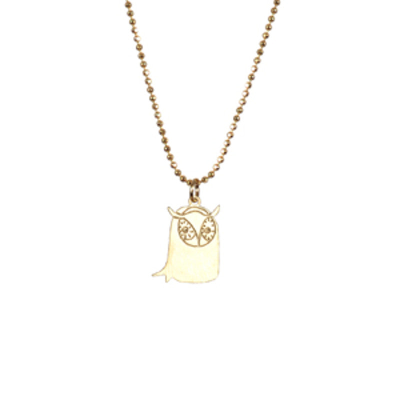Golden Owl Necklace TITLEE - www.fourmonkeys.com