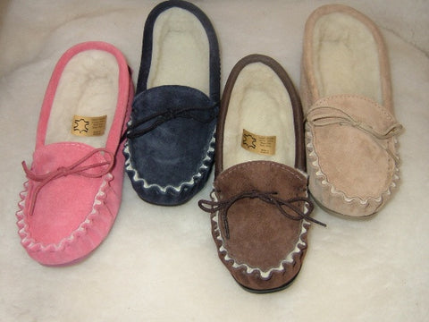 Ladies Suede Moccasin with Fabric Lining and Hard Sole | Jasmine