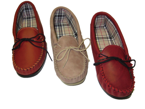 Ladies Leather Moccasin with Lining and Hard Sole | Ruby