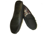 Black Leather Moccasin Slipper Hard Sole | Dave
