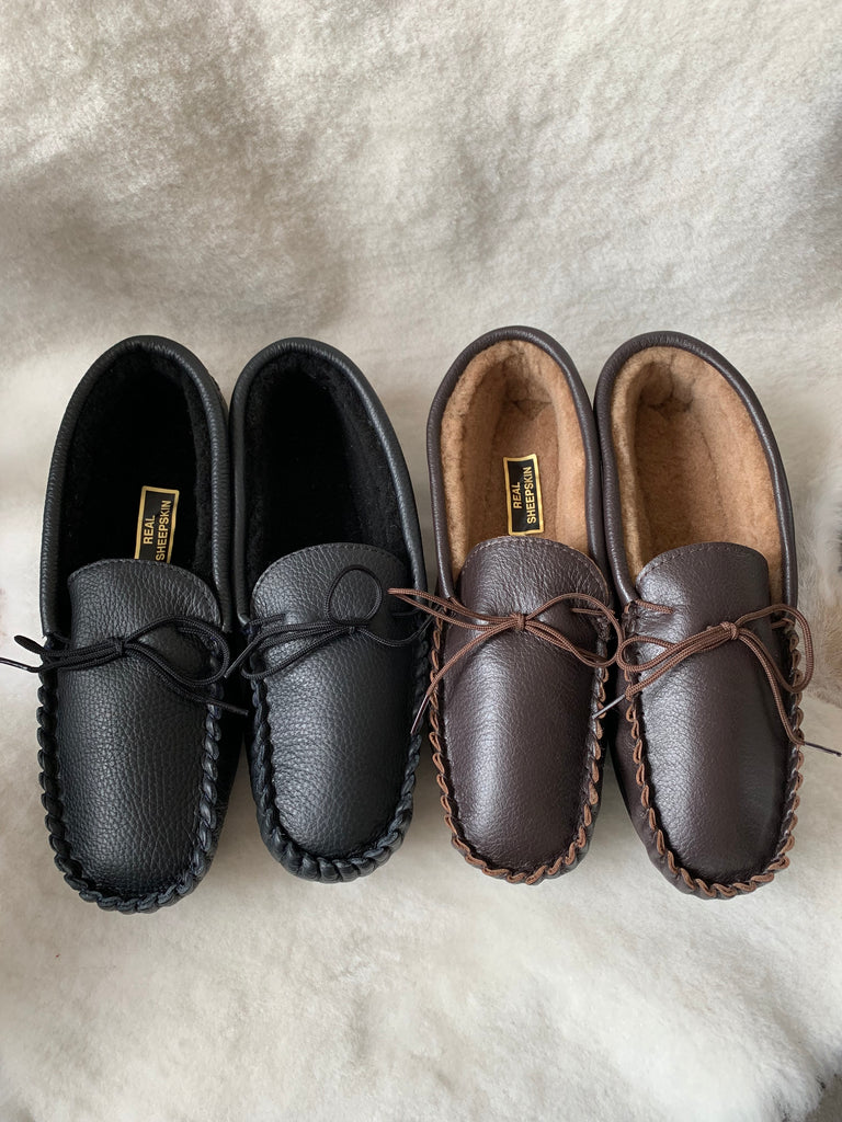 Leather Moccasin with Sheepskin Lining and Hard Sole | Rupert