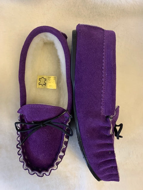 Ladies Wool Lined Moccasin with hard sole | Betty