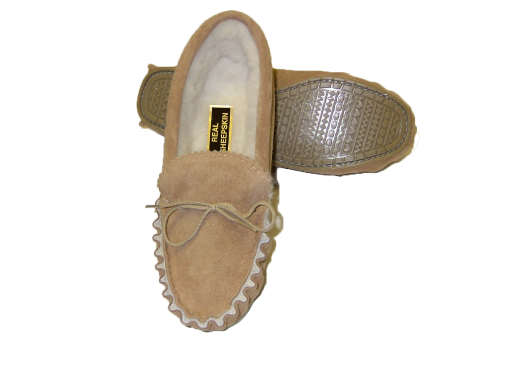 Sheepskin Lined Moccasin with Hard Sole | Shelley