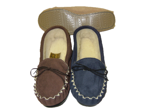 Leather Moccasin Slipper Hard Sole | Harvey