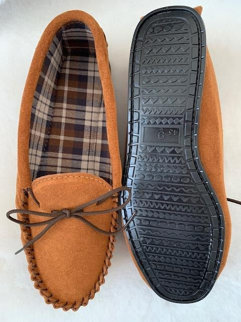 Suede Tartan lined Moccasin with Hard Sole | Edd