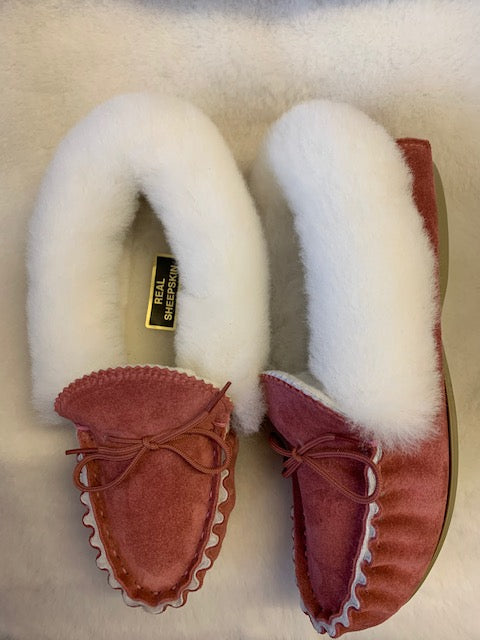 Luxury Sheepskin Lined Moccasin with Sheepskin Collar and Hard Sole | Florrie