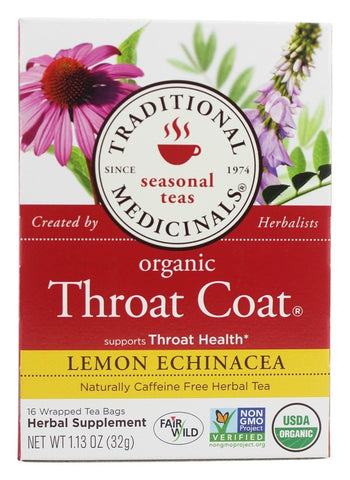 [Special] Traditional Medicinals - Organic Throat Coat Lemon Echinacea Herbal Tea  - 16 Tea Bags