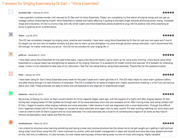 "Dr Dan's ""Voice Essentials"" – Vocal Exercise Program"
