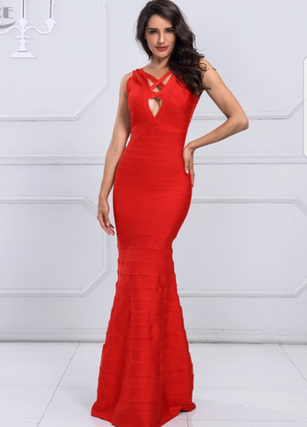 RED BANDAGE MAXI GOWN