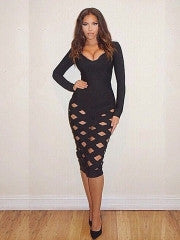 Black Long Sleeved Caged Dress