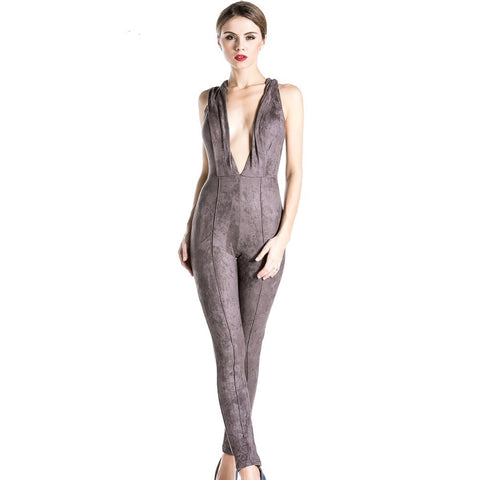 suede sleeveless deep v Jumpsuit
