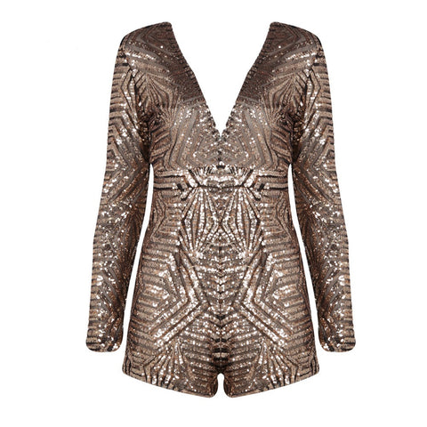 v-neck long-sleeved sequins Halter playsuit