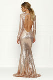 OPEN BACK SEQUIN GOWN