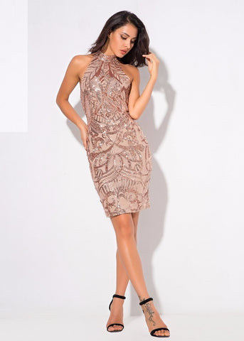 SEQUIN HALTER BODYCON DRESS