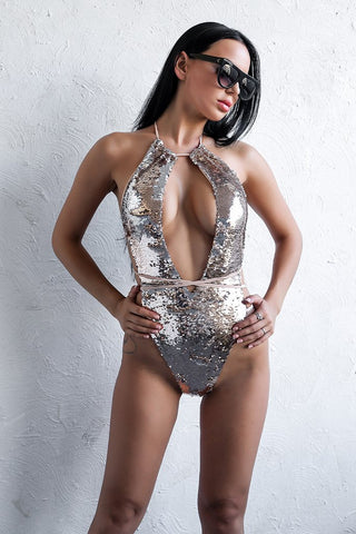 SEQUIN OPEN FRONT SWIMSUIT