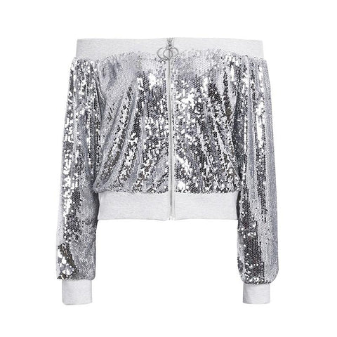 SEQUIN OFF THE SHOULDER BOMBER JACKET