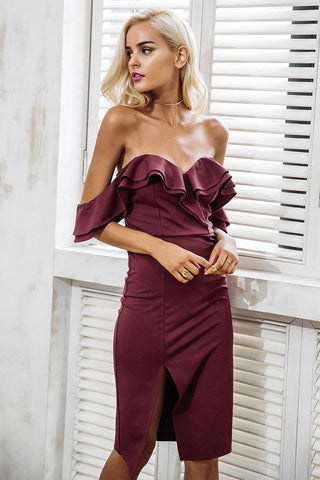 RUFFLE BODYCON DRESS