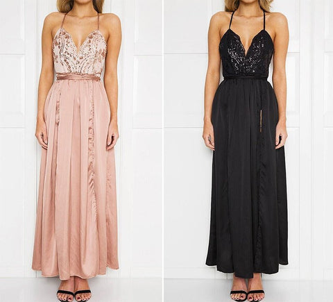 SLIT FRONT SEQUIN MAXI DRESS 2 COLOURS AVAILABLE