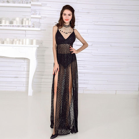 GLITTER LATTICE MAXI DRESS
