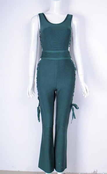TIE SIDE BANDAGE JUMPSUIT