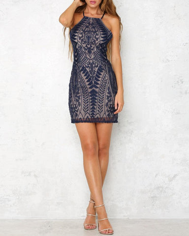 EMBROIDED HALTER DRESS