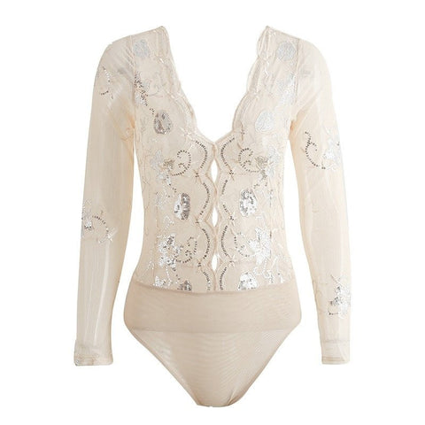 SEQUIN EMBROIDED BODYSUIT