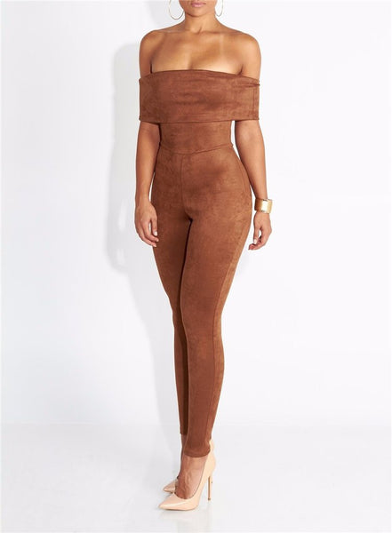 SUEDE OF THE SHOULDER JUMPSUIT