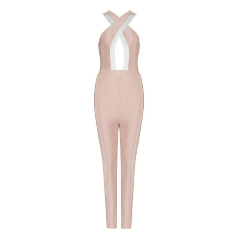blush bandage jumpsuit