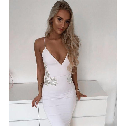SEQUIN FLORAL SIDED BANDAGE DRESS